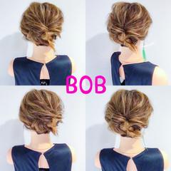 ヘアアレンジ オフィス ボブ フェミニン ヘアスタイルや髪型の写真・画像