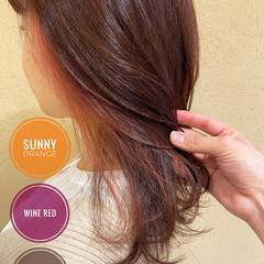 オレンジ ピンクカラー ピンク オレンジカラー ヘアスタイルや髪型の写真・画像