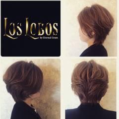 ショート ショートボブ ハイライト ヘアスタイルや髪型の写真・画像