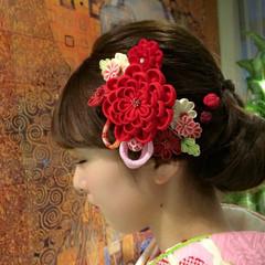 成人式 大人かわいい ヘアアレンジ セミロング ヘアスタイルや髪型の写真・画像