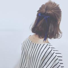 ハーフアップ 簡単ヘアアレンジ 外国人風 ボブ ヘアスタイルや髪型の写真・画像