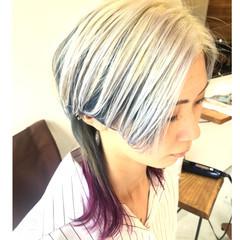 ダブルカラー セミロング デザインカラー ハイトーンカラー ヘアスタイルや髪型の写真・画像