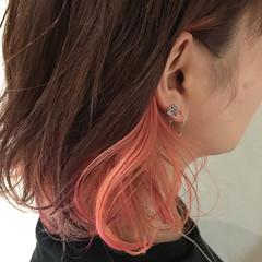 インナーカラー ラベンダーピンク ガーリー ボブ ヘアスタイルや髪型の写真・画像