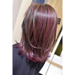 ガーリー ピンクパープル ベリーピンク ラズベリーピンク ヘアスタイルや髪型の写真・画像