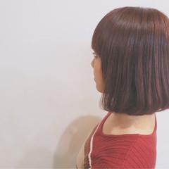大人女子 かっこいい ボブ ベリーピンク ヘアスタイルや髪型の写真・画像