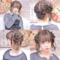 ヘアアレンジ 簡単ヘアアレンジ ミディアム 編み込み ヘアスタイルや髪型の写真・画像