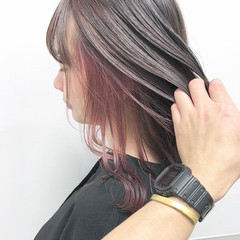 インナーピンク ハイトーン ミディアム 大人可愛い ヘアスタイルや髪型の写真・画像