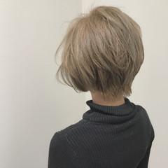 ショート 上品 エレガント ハイトーン ヘアスタイルや髪型の写真・画像