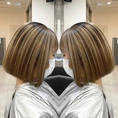 ストリート 縮毛矯正 ブラウン 前下がりボブ ヘアスタイルや髪型の写真・画像
