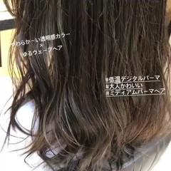 ゆるナチュラル ミディアム ゆるふわパーマ デジタルパーマ ヘアスタイルや髪型の写真・画像