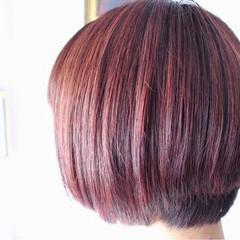 ラベンダーピンク ピンクアッシュ ピンク ボブ ヘアスタイルや髪型の写真・画像