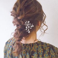 結婚式ヘアアレンジ 結婚式 結婚式髪型 編みおろし ヘアスタイルや髪型の写真・画像