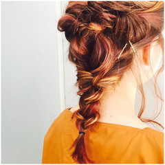 ロング ストリート ピンク 簡単ヘアアレンジ ヘアスタイルや髪型の写真・画像