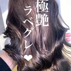 アッシュグレー エレガント ラベンダーアッシュ ラベンダーグレー ヘアスタイルや髪型の写真・画像