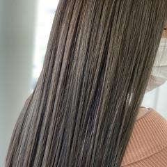 エクステ バレイヤージュ グレージュ ロング ヘアスタイルや髪型の写真・画像