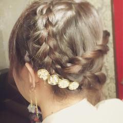 アップスタイル 編み込み 結婚式 大人かわいい ヘアスタイルや髪型の写真・画像