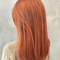 オレンジカラー ダブルカラー オレンジ ストリート ヘアスタイルや髪型の写真・画像