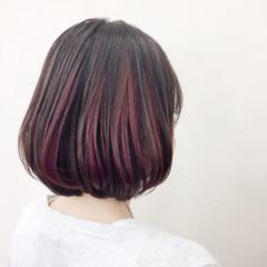 暗髪 秋 ピンク レッド ヘアスタイルや髪型の写真・画像