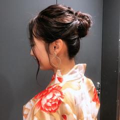 黒髪 浴衣アレンジ ヘアアレンジ ナチュラル ヘアスタイルや髪型の写真・画像