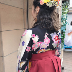 エレガント 切りっぱなしボブ 袴 ミディアム ヘアスタイルや髪型の写真・画像