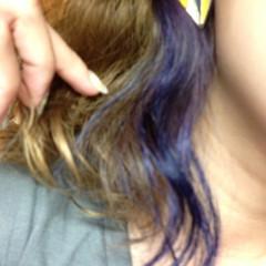 ミディアム ストリート ブルー ヘアスタイルや髪型の写真・画像