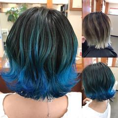 カラーバター ブルー ボブ フェミニン ヘアスタイルや髪型の写真・画像