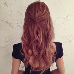 簡単ヘアアレンジ ハーフアップ ゆるふわ ヘアアレンジ ヘアスタイルや髪型の写真・画像