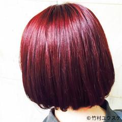 ストリート ボブ ピンク レッド ヘアスタイルや髪型の写真・画像