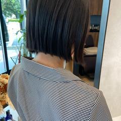 ナチュラル ボブ ショートヘア 切りっぱなし ヘアスタイルや髪型の写真・画像