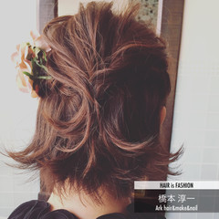 ヘアアレンジ ゆるふわ 簡単ヘアアレンジ ショート ヘアスタイルや髪型の写真・画像
