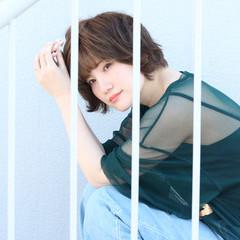 リラックス ショート フェミニン 夏 ヘアスタイルや髪型の写真・画像