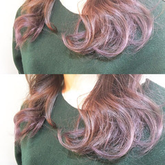 ピンク ミルクティー アッシュバイオレット ストリート ヘアスタイルや髪型の写真・画像