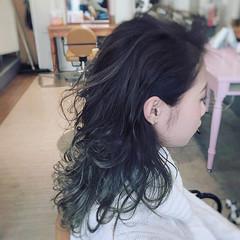 ブルーグラデーション グラデーションカラー かっこいい 黒髪 ヘアスタイルや髪型の写真・画像