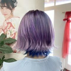 インナーカラー ゆるふわパーマ ガーリー トワイライトパープル ヘアスタイルや髪型の写真・画像