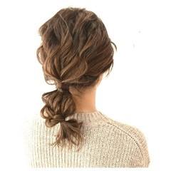 波ウェーブ ローポニーテール ヘアアレンジ 外国人風 ヘアスタイルや髪型の写真・画像