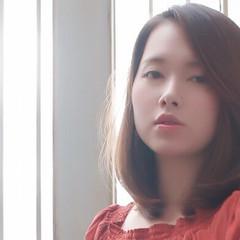 サラサラ 透明感 春スタイル ミディアム ヘアスタイルや髪型の写真・画像