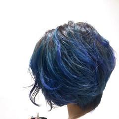 ショート グラデーションカラー アッシュ 渋谷系 ヘアスタイルや髪型の写真・画像
