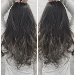 ガーリー グラデーションカラー ロング 大人かわいい ヘアスタイルや髪型の写真・画像