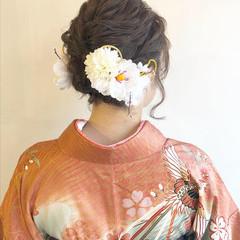 和装ヘア ミディアム ヘアアレンジ ナチュラル ヘアスタイルや髪型の写真・画像