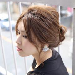 夏 ヘアアレンジ セミロング まとめ髪 ヘアスタイルや髪型の写真・画像