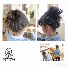 編み込み 和装 セミロング ねじり ヘアスタイルや髪型の写真・画像