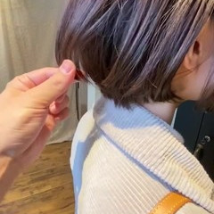 流し前髪 ナチュラル 斜め前髪 ショートヘア ヘアスタイルや髪型の写真・画像
