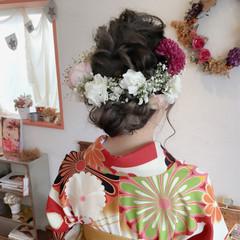 ロング くるりんぱ 二次会 フェミニン ヘアスタイルや髪型の写真・画像