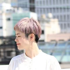 ショートボブ ハンサムショート ショート ピンクベージュ ヘアスタイルや髪型の写真・画像