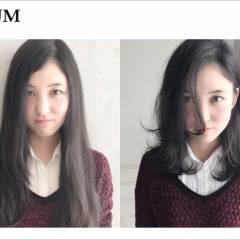暗髪 ミディアム ストレート ウェーブ ヘアスタイルや髪型の写真・画像
