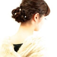 暗髪 パーティ 結婚式 セミロング ヘアスタイルや髪型の写真・画像