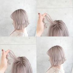 ホワイトカラー ミルクティー ミニボブ 切りっぱなしボブ ヘアスタイルや髪型の写真・画像