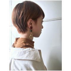 ショートボブ ナチュラル ショート オレンジベージュ ヘアスタイルや髪型の写真・画像
