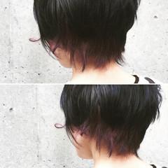 アッシュ インナーカラー ショート ダブルカラー ヘアスタイルや髪型の写真・画像