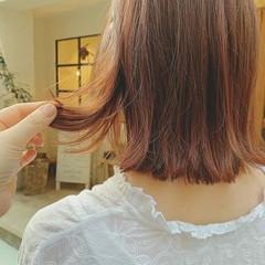 ハイライト 切りっぱなしボブ フェミニン 外ハネボブ ヘアスタイルや髪型の写真・画像